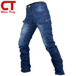 Wholesale Multi Pocket Trousers Jeans - Wholesale-2016 Men's Cargo Jeans Elastic Waist Jean Pants High Quality Tactical Denim Multi Pocket Male Trouser Cargo Skinny Jeans for