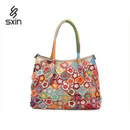 Wholesale Bags Handbags Fashion Colorful Style - Fashion Genuine Leather Women Handbag Colorful Flower Brand Design Tote Shoulder Bag Ladies Messenger Bag High Quality 740