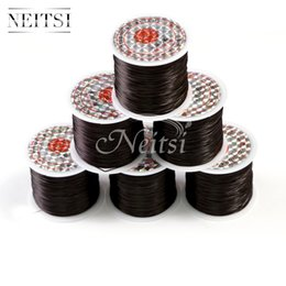 Wholesale Elastic Line For Bracelet - Neitsi 5Roll lot Black# 50Meters pc Crystal Beads Elastic Cord Line for Hair Crystal Stretchy Elastic Thread Cords Wire DIY Bracelet Beading