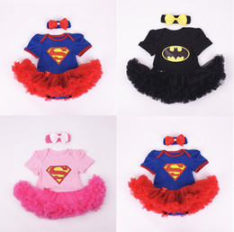 Wholesale Superman Baby Girl - Batman Superman Rompers Newborn Onesies TuTu Dress Superhero Toddler Outfit Infant Outwear Cartoon Cotton Baby Romper Baby One-Piece