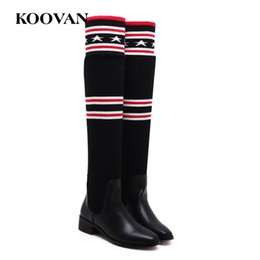 Wholesale thigh high socks sales - Hot Sale Over Knee High Boots Fashion Socks Boots 2017 Koovan Winter Autumn Casual Women Shoes Stretch Knitting Shoes High Quality W166