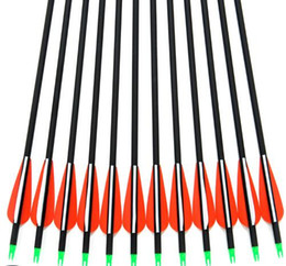Wholesale Hunting Arrow - 12pcs Replaceable Arrowhead 30inch Spine 500 Carbon Arrows Hunting Bow Arrows free shipping