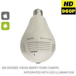 Wholesale Camera Fisheye For Android - 2017 1080P 360 Degree Fisheye Panoramic Wifi Wireless P2P Hidden Network IP Camera LED Bulb Light Home Security System For IOS Android