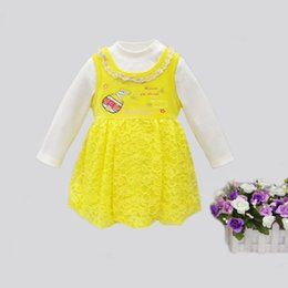Wholesale Baby Boy White Dress Shirts - Wholesale- 2016 Little Q Baby girl lace princess cute long sleeve spring velvet clothing set ball gown children dress with white t shirt