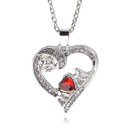 Wholesale Rose Flower Statement Necklace - Rose Flower Crystal Rhinestone Mom Heart Pendant Cheap Necklace For Women statement jewelry high quality mother's day gift drop shiping