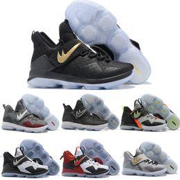Wholesale Galaxy Men Basketball Shoe - New Lebron 14 Men Basketball Shoes James 14s BHM Galaxy Sports Shoes LeBron 14 XIIII Mens Training Sneaker Black Red Zebra With Box
