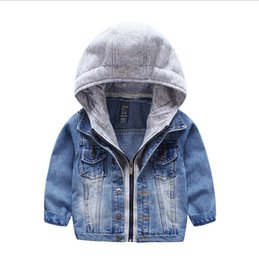 Wholesale Denim Top Boy - Baby Boys Girls Jeans Denim Jackets Hoody Cardigan Cowboy Coat Kids Children Top Clothes with Hat
