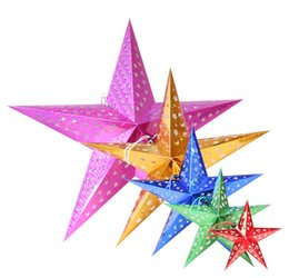 Wholesale christmas decoration paper stars - 30cm 45cm 60cm 90cm DIY Paper Stars Garland Star Decoration Christmas Ornaments Wedding Birthday Christmas Party Decoration Supplies