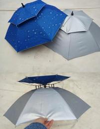 Wholesale Double Fabric Umbrellas - New Rain Gear Summer creative Sun solid double windproof Anti UV umbrellas hat fishing hat Portable
