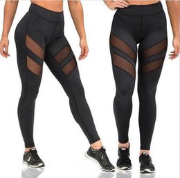 Wholesale Sexy Trousers For Ladies - Womens Sexy Fitness Active Skinny Pants For Ladies Fashion Black Mesh Patchwork Elastic Slim Gym Sports Yoga Capris Pencil Trousers Pants