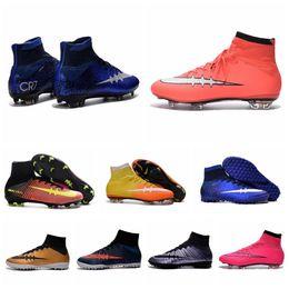 Wholesale Cheap Ronaldo Football Boots - Cheap Kids Soccer Sneakers Cristiano Ronaldo CR7 Mens Mercurial Superfly FG Football Boots Women Soccer Cleats Outdoor Shoes Botas De Futbol