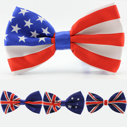 Wholesale Usa Tie - men bow tie American Flag necktie USA Union Jack British flag bow tie Australian neck tie 4 designs in stock fast shipment