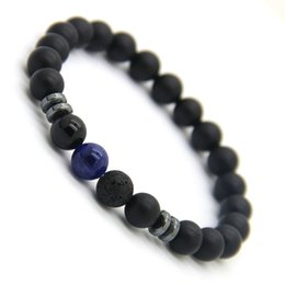 Wholesale Tiger Bracelet Ring - New Design Mens Bracelets 8mm Matte Agate Stone Beads Tiger Eye Lave Stone and Blue Veins Lucky Bracelets