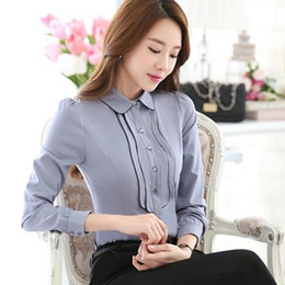 Wholesale Korean Fashion Shirts Blouses - Fashion Korean Style Business Office Shirts Contrast Patchwork Long Sleeve Shirt Women Blouses Button Tops blusa feminina