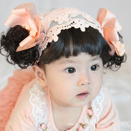 Wholesale Korean Baby Wig - Korean baby hair band infant children in Europe and America flowers one hundred days photo accessories wig wig bangs hair band multicolor va