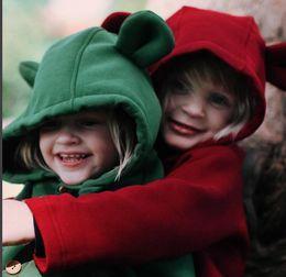 Wholesale Cartoon Boy Hood - INS New Autumn Winter Boys Girls Coats Cartoon Cute big Ear Cotton Fleece Long Sleeve Sweater Children Coat Tops Cardigan 5 Colors A7730