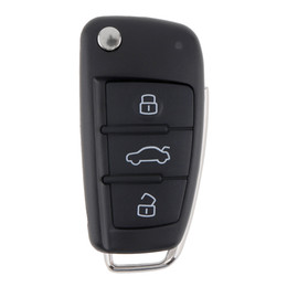 Wholesale Audi Key Remote Button - Black 3 Buttons Smart Remote Replacement Key Case No Chip for Audi A6L Keys CIA_400