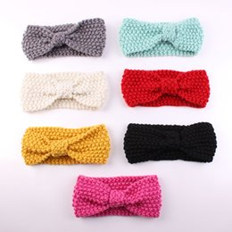 Wholesale Crochet Hair Accessories For Girls - 10PCS lot Baby's Turban Ear Winter Warm Headband Crochet Knitted Hairband Headwrap Hair Band Accessories for Baby Girl Infant Kid Toddler