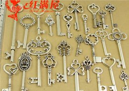 Wholesale Metal Handmade Jewelry - 25pcs mixed metal jewelry accessories DIY zinc alloy pendant retro creative handmade antique silver assorted fashion key charms