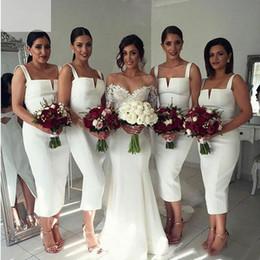 Wholesale White Tea Bridesmaid Dresses - Elegant 2016 White Satin Sheath Tea Length Bridesmaid Dresses Cheap Arabic Spaghetti Criss Cross Back Split Maid Honor Gowns EN9227