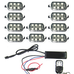 Wholesale Led Neon Kits - 10 Waterproof PODS 5050 SMD RGB LED Universal Motorcycle Accent Neon Underglow Light 18 Color Change Break Warning Kit