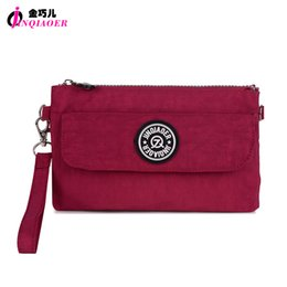 JINQIAOER Marque Nylon Portefeuille Double couche Zipper Coin Pocket Organise Sac à main Sac à main Wristlet Clutch Slim Wallet For Girl à partir de fabricateur