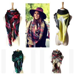 Wholesale Wholesale Luxury Scarves - Plaid Scarf Women Oversized Blanket Luxury Brand Scarf Wrap Warm Wool Scarf Women Shawls and Scarves 33 Styles Free Shipping