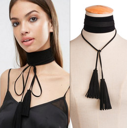 Wholesale Wide Choker Necklaces - Choker Necklace New Fashion Exaggerated personality Wide flannelette tassel Black knitting wool bowknot Jewelry Long Pendants Necklaces