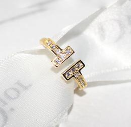 Rosas de bronze on-line-Famosa Marca dupla T diamante Anéis de estilo Personalidade Rose Gold Filled Platedring anéis abertos para as mulheres da moda jóias presente para o aniversário