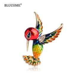 Wholesale Birds Hats - Enamel Bird Brooch With Crystal Exquisite Gold-color Colorful Animal Brooch Metal Alloy Broche Hat Pendant Women Kids Clips