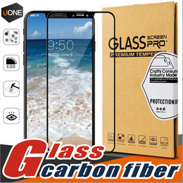Wholesale Curve Body - For iPhone X 8 8 plus Carbon Fiber Frame 2.5D 9H Hardness Anti-fingerprint Tempered Glass Screen Protector High definition Full coverage