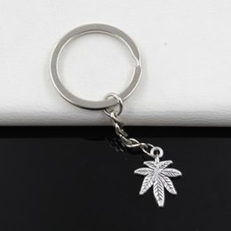 Wholesale Metal Maple Leaf - Fashion diameter 30mm Key Ring Metal Key Chain Keychain Jewelry Antique Silver Plated maple leaf 20*15mm Pendant
