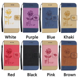 Wholesale book lovers - Rose Lover PU Leather Wallet Case For Iphone 7 Plus 6 6S Luxury Floral Flower Hit Color Hybrid Holder ID Card Slot Book Cover Pouch+Strap
