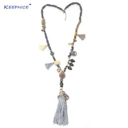Wholesale Tassel Fringe Necklace - 2017new Clothing Accessories Bohemian Ethnic Beaded Chains Tassel Necklace Colorful Pompoms Long Fringe Buddha Pendants Necklace