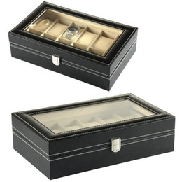 Wholesale Jewelry Store Free Shipping - Luxury store content box 12 Grid Leather Watch Display Case Jewelry Collection Storage Organizer Box Holder gift Free Shipping