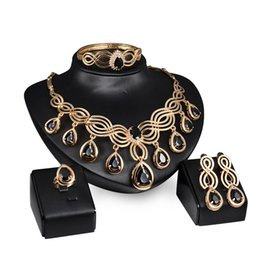 Wholesale Dubai Accessories - 5pcs set Luxury Wedding African Black Beads Gold Plated Choker Necklace Rings Earrings Dubai Women Accessories Party Jewelry Set Wholesale