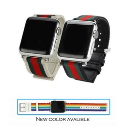 Wholesale Rainbow Designs - for apple watch strap weave band leather back with metal buckle modern design fashion luxury style for iwatch rainbow