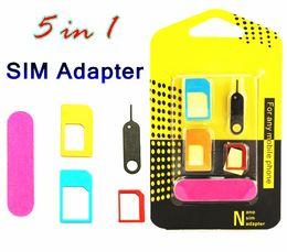 Nouvel Aluminium En Métal Carte SIM Adaptateur Nano Carte Sim vers Adaptateur Micro Convertisseur Éjecteur Set 5 en 1 pour iphone 6s 5s tous les appareils de téléphone ? partir de fabricateur