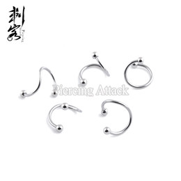 Wholesale Twister Rings Lip - Free Shipping 16 Gauge 316L Surgical Steel Spiral Twister With Spike Labret Lip Rings Body Jewelry 50 pcs per lot