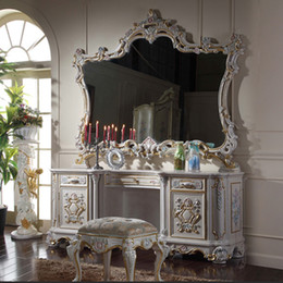Italian Classic Furniture French Provincial Classic Solid Wood Furniture Cracking Paint Dressing Table And Mirror