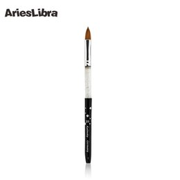 Wholesale Professional Art Paint Brushes - Wholesale- AriesLibra 10# Black 5pcs set 100% Kolinsky Sable Brush Professional Nail Art Tool Brushes Acrylic Nail Brush for Nail Painting