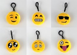 Wholesale Mobile Plush - 9 Newest Styles emoji plush pendant Key Chains Emoji Smiley Emotion Yellow QQ Expression Stuffed Plush doll toy for Mobile bag pendant F045
