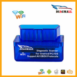 Wholesale Obd2 Adapter For Iphone - Diagmall Mini WiFi ELM327 OBD2 OBDII Scanner Tool Adapter Check Engine Light Trouble Code Reader For iOS iPhone iPad and Android