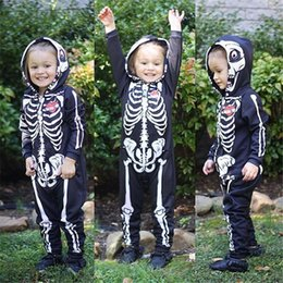 Wholesale Hooded Skeleton - Halloween Baby Boys Romper Long Sleeve Skeleton Printed With Hat Black Color Fall Spring Infant Clothing