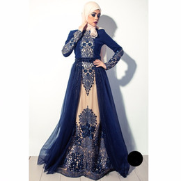 Wholesale Formal Hijab - High quality Navy Blue Muslim Evening Dresses In Dubai Arabia hijab long sleeves formal gown beaded crystal embroidery prom dress