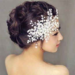 Wholesale Beaded Hair Combs - Bridal hair accessories bride married Korean flower head flower handmade crystal beaded headdress married pearl comb