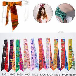 Wholesale Silk Scarfs Neck - Women Scarf Printed Handbag Silk Ribbon Wraps Bandanas Bow Hair Bands Decoration Headband Neck Decoration 10 Style OOA2706