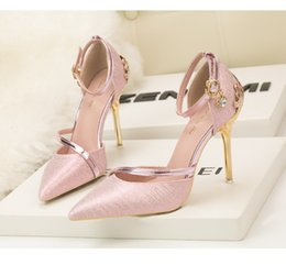 Wholesale Best Selling Highest Heels - 2017 Best Selling pink gold red black silver Shoes for Wedding Bride Women High Heels Shoes for evening cocktail prom party New Arrival