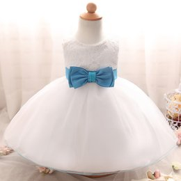 Wholesale Christening Gowns For Newborns - Wholesale- Newborn Baby Girl 1st Birthday Outfits White Girl Dress For Baptism Lace Christening Gown Beads Bow Dresses for Infant Clothing