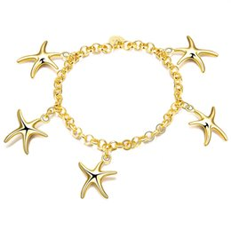 Wholesale 14k Gold Plated Chain Korea - Romantic Starfish Bracelet with Shining Fashion of Japan and South Korea Style Best Christmas Gift on Wholesale